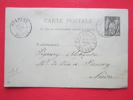 Cp  écrite à CHAMPLEMY Le 11/04/1897 Oblitérée à CHAMPLEMY & PREMERY (58)Timbre Entier Type SAGE - Ganzsachen