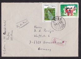 China: Airmail Cover To Germany, 1993, 2 Stamps, Cartoon, Peace (insect Stamp Damaged) - 1949 - ... Volksrepubliek