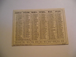 Mini Calendrier,  Recto Verso , 1857, Non Publicitaire - Kalenders
