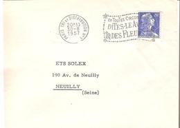 France PARIS Flamme Sur Lettre 1957 Dites-le Avec Des Fleurs - 631 - Marcophilie (Lettres)