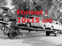 Reproduction D'une Photographie Anciennede Voitures Américaines Chargées Sur Un Camion Plateau En 1940 - Reproductions