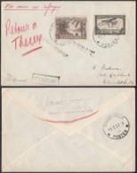 CONGO COB 168 + PA7 SUR LETTRE DE KINDU 16/02/1937 REBUT,RETOUR ,NON RECLAME  (DD) DC-6923 - Congo Belge