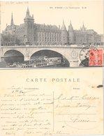 CARTE POSTALE. AVEC TIMBRE PERFORÉ.    /  3 - Marcophilie (Lettres)