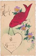 1er AVRIL : à Système - Paillettes - Fait Main : Poisson Portant Un Coeur - 1 De April (pescado De Abril)