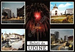 Cartolina Udine Vedute Fuochi Artificiali Timbro Targhetta 1965 - Udine