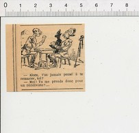 Presse 1892 Petite Gravure Humour Ancien Remariage Joueurs De Cartes Jeu 51B3 - Vieux Papiers