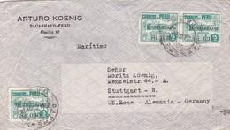 """ARTURO KOENIG"" PERU CIRCULATED COMMERCIAL COVER, PACAMAYO TO STUTTGART US ZONE, GERMANY 1952 -LILHU - Pérou"