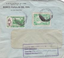 """BANCO POPULAR DEL PERU"" BOLIVIA CIRCULATED COMMERCIAL COVER, FROM LA PAZ 1944 -LILHU - Bolivie"