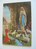 NOTRE DAME DE LOURDES RELIGIONE CATTOLICA  CARTOLINA PLASTICA 3D TRIDIMENSIONALE      VIAGGIATA  COME DA FOTO - Vergine Maria E Madonne