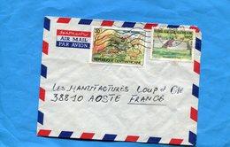 Marcophilie-R C A -lettre>Françe-cad 1984 -2 -stamps N°60-feu De Brousse+596 Ressources Halieutiques - Centrafricaine (République)