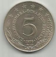 Yugoslavia 5 Dinara 1976. KM#58 - Joegoslavië