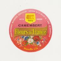 ETIQUETTE DE CAMEMBERT FLEURS DE FRANCE 55 AUBERVILLE - Kaas