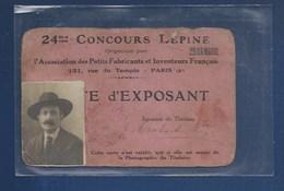 CARTE D'EXPOSANT - CONCOURS LÉPINE 1926 - Tickets D'entrée