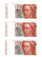 Lot De 3 Billets 10 Fr Suisse Tres Bon Etat - Switzerland