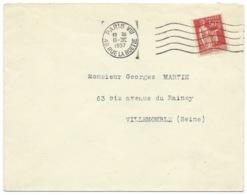 50c TYPE PAIX SUR ENVELOPPE / PARIS VIII POUR VILLEMOMBLE / 1937 - Marcophilie (Lettres)