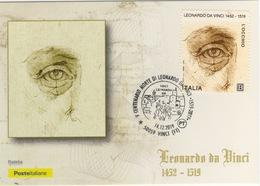 Italia 2019 Vinci V Centenario Morte Di Leonardo Da Vinci Annullo Cartolina Dedicata - Arte