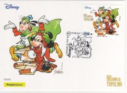 Italia 2017 Lucca 90 Anni Di Topolino Comix Fumetti Annullo FDC Cartolina Dedicata - Fumetti