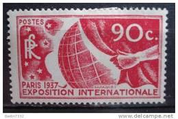 1937 France World Expo Paris, 90c Mint Hinged,met Plakker,Neuf Avec Charniere - Francia
