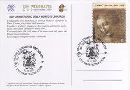 Italia 2019 Verona 500° Anniversario Morte LEONARDO DA VINCI Annullo Cartolina Dedicata - Celebrità