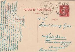 France Alsace Cachet Haguenau Sur Entier Postal 90c Rouge Type Semeuse 1932 - Poststempel (Briefe)