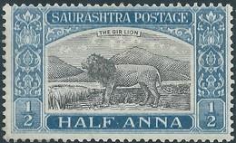 INDIA Princely States Of India SAURASHTRA Postage,HALF ANNA,Not Used-Hinged - Non Classés
