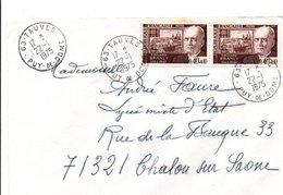 AFFRANCHISSEMENT COMPOSE SUR LETTRE DE TAUVES PUY DE DOME 1975 - Marcophilie (Lettres)