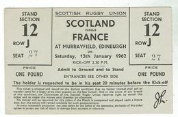 Billet Tournoi Des Cinq Nations 1962 / Ecosse- France à Murrayfield 13 Janvier /Albaladejo 8 Pts Plan Du Stade Au Verso - Rugby