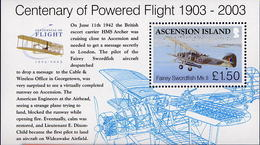 Ascension 2003 Sheet Feuillet Centenaire De L'aviation Centenary Of Powered Flight Fairey Swordfish - Avions