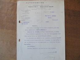 LYON  ETABLISSEMENTS LYONNAIS ROCHET-SCHNEIDER AUTOMOBILES 57-59 CHEMIN FEUILLAT COURRIER DU 14 MARS 1912 - Francia