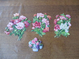 3 BOUQUETS 12cm ET FLEURS DANS UNE CORBEILLE 6cm - Fleurs