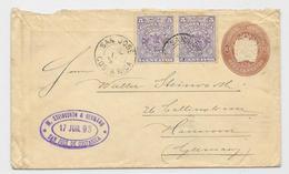GA Costa Rica 1893 + Zuf. San Jose To Hannover Germany Via New York USA - Costa Rica