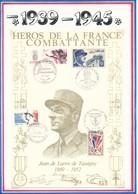 FRANCE - BEAU DOCUMENT JEAN DE LATTRE DE TASSIGNY 1889-1952 PARIS BELFORT MOUILLERON EN PAREDS POSTE AUX ARMEES - Guerre Mondiale (Seconde)