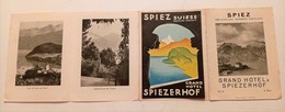 DEPLIANT TOURISTIQUE SPIEZ GRAND HOTEL SPIEZERHOF OBERLAND BERN PUBLICITE A. BOSS SUISSE - BE Berne