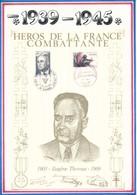 FRANCE - BEAU DOCUMENT EUGENE THOMAS 1903-1969 GRENOBLE PARIS 1984/1985 HEROS FRANCE COMBATTANTE - Guerre Mondiale (Seconde)
