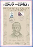 FRANCE - BEAU DOCUMENT LEONCE VIELJEUX 1865-1944 STRASBOURG PARIS 1984 HEROS FRANCE COMBATTANTE - Guerre Mondiale (Seconde)