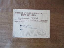 THIAIS SEINE ETABLISSEMENTS TROUVE 45 RUE VICTOR HUGO FABRIQUE DE TAPIS DE JEU CACHET P P CHOISY LE ROI 13 OCT 37 - 1921-1960: Periodo Moderno