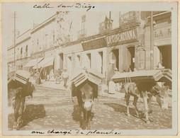C1895 - Mexico - Calle San Diego - Anes Chargés De Planches / Shops La Circaciana .. - 2 Scans - Foto