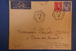 516 FRANCE LETTRE 1940 AJACCIO PAR AVION POUR GRASSE + CACHETS OCTOGONAUX - France