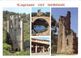 LAGRASSE Cite Medievale Vieux Pont La Place Des Halles Les Remparts L Abbaye Sainte Marie 9(scan Recto-verso) MB2338 - Francia