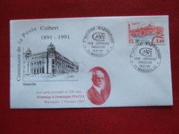 "MARSEILLE CENTENAIRE DE LA POSTE COLBERT 1991 -  PIAZZA"" 7e BOURSE EXPOSITION , CLUB CARTOPHILE - 03 02 - 1991 "" - Commemorative Postmarks"