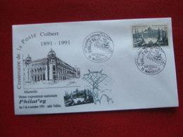 """MARSEILLE CENTENAIRE DE LA POSTE COLBERT 1991 -  """" JOURNEE DU TIMBRE  18 / 03 / 1991 """" - Commemorative Postmarks"""
