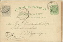 1896 Zuid-Afrikaanse Republiek Post Card Sent From Waterval To Wageningen, Holland - Oranje-Freistaat (1868-1909)
