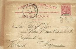 1897 Zuid-Afrikaanse Republiek Post Card Sent From Volksrust To Wageningen, Holland - Oranje-Freistaat (1868-1909)