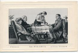 """Militaria. Guerre 14-18. Carte En Soie Tissée. Entourage Gaufré. """"Le Filleul"""" D'après Simont. St Etienne. (recto-verso) - Guerre 1914-18"""