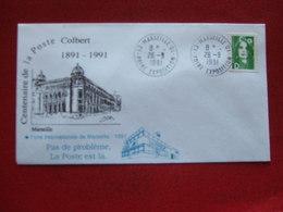 "MARSEILLE CENTENAIRE DE LA POSTE COLBERT 1991 -  ""  FOIRE INTERNATIONALE DE MARSEILLE  1991 "" - Commemorative Postmarks"