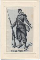 """Militaria. Guerre 14-18. Carte En Soie Tissée. Entourage Gaufré. """"On Ne Passe Pas"""". Georges Scott - War 1914-18"""