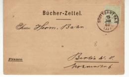 4816 DEUTSCHLAND  STUTTGART TO BERLIN - 1888 - OSKAR GERSCHEL BUCHHANDLUNG & ANTIQUARIAT - Brieven En Documenten