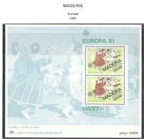 LSJP PORTUGAL MADEIRA TYPICAL COSTUMES EUROPA 1981 MNH - 1910-... Republic