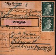 ! 1943 Paketkarte Deutsches Reich, Heydebreck In Oberschlesien  Nach Leipzig, Lager, Zusammendrucke Hindenburg - Germania