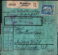 ! 1943 Paketkarte Deutsches Reich, Hirschberg Im Riesengebirge, Schlesien  Nach Leipzig,  Zusammendrucke Hindenburg - Deutschland